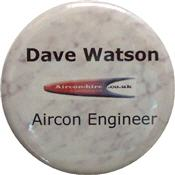 Low cost button badge used as a name badge